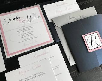 Metallic Navy, Blush & Glitter Silver Custom Pocket Wedding Invitations | Wedding Announcements | Elegant | Script | Invitation Suite
