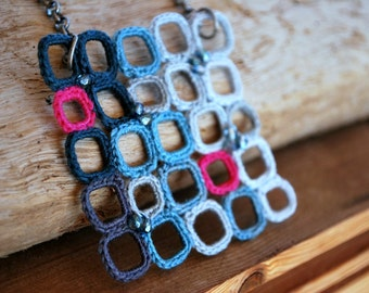 Beaded Crochet Necklace - Fiber Jewelry - Blue Squares Color Block - Mosaic - Geometric - Clusterm - Ombre
