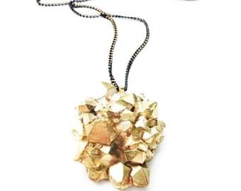 Cast Brass Amethyst Crystal Cluster Necklace