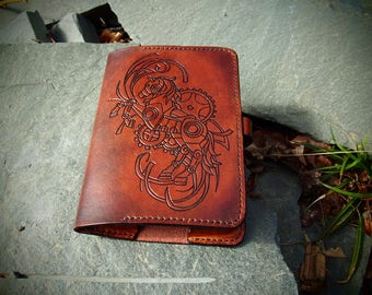 steampunk kindle leather case, kindle paperhite case, steampunk desing
