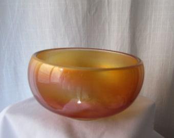Carnival Glass Simple plain vintage glass home decor antique orange bowl