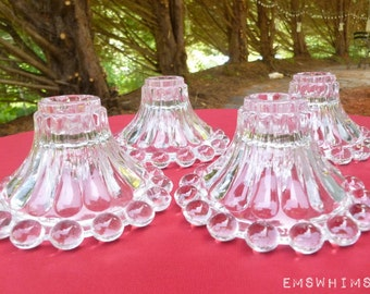 Set of 6 Vintage 1960 Anchor Hocking Boopie Glass Candle Sticks Holders