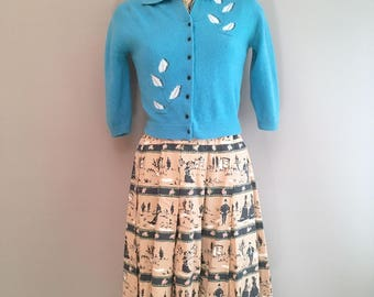 1950s lambswool and angora sweater / cardigan made by Penneys Size 36 Small 8uk