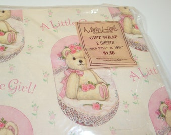 Vintage Gift Wrap, Wrapping Paper, A Little Girl, Teddy Bear, Marian Heath (486-12)