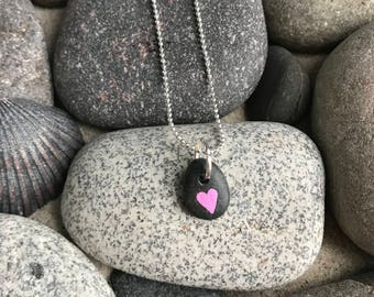 Cutest small Pink Heart Rock Necklace or Pendant