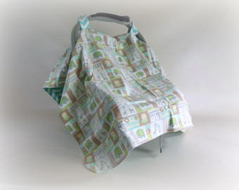 Car Seat Canopy, Car Seat Cover, Cart Cover, Play Mat, Blanket in Elephants and Chevrons