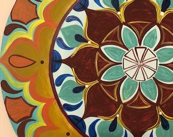 Mandala wall art, Acrylic painting on wood, Mandala gift, Yoga art, Sacred geometry art, Geometric art, Yoga gift, Feng Shui decor, wall art