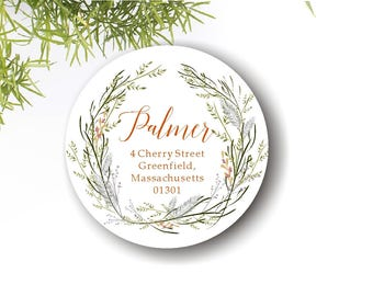 Round Address labels/fall/autumn labels wreath/Thanksgiving label/vines/watercolor wreath/address stickers woodland/printable labels