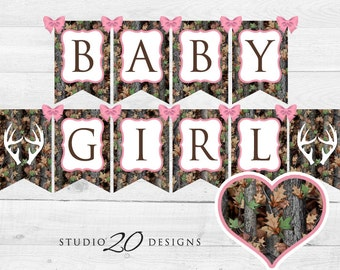 Instant Download Pink Camo Baby Shower Banner, Baby Girl Camouflage Bunting Banner, Realistic Camo Pendent Banner, Camo Shower Banner 31D