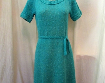 Vintage TURQUOISE BOUCLE KNIT Dress with Self Tie Belt & Short Sleves Junior Size Small