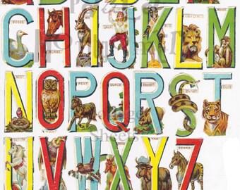 Animal Alphabet Digital Download Collage Sheet