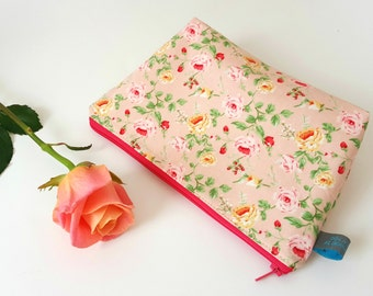 Floral Cosmetic Pouch with Cotton Lining