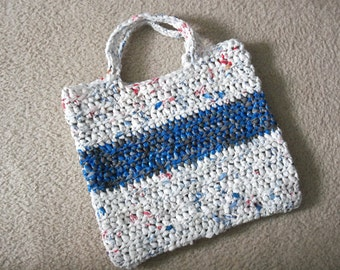 Tote made from recycled plastic bags (plarn).  White with blue/grey stripe.