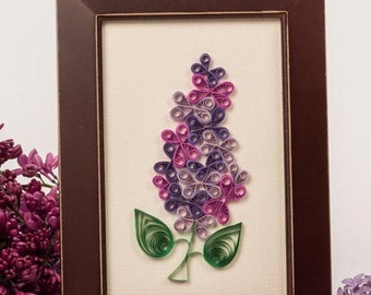 Single bright purple lilac bloom, framed. Paper quilling lilac blossom design { paper quill art } unique gift, home item Rochester NY