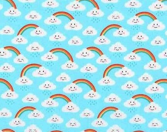 Robert kaufmann daydreamer rainbows aqua, pale blue cotton fabric, 100% cotton,