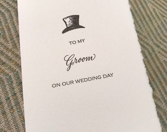 To my Groom on our Wedding Day Letterpress Card