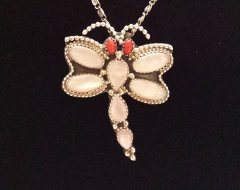Sterling silver dragonfly with shell and coral