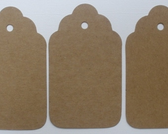 """4 LARGE SCALLOP TAGS --  Raw CHiPBOARD Unfinished Bare Die Cuts - 4"""""""