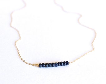 Genuine Sapphire Necklace - 14k Gold Filled or Sterling Silver - Bead Bar Necklace - Delicate Necklace - Deep Blue - September Birthstone