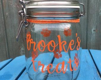 Personalised treat jar/ dog treat jar/ pet treat jar/ paw print jar/ treat jar