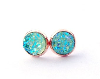 AB mint rose gold stud earrings / faux druzy / Aurora borealis / mint green / Mother's day gift / girlfriend / gift for her