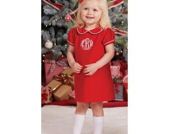 Monogrammed Red Corduroy Dress
