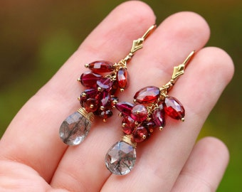 Red Garnet Earrings Red Garnet Cluster Earrings January Birthstone Rutilated Quartz Earring Gold Filled 14K Earring Dangle Gemstone Earrings