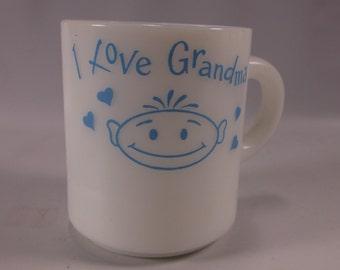Milk Glass Retro 60 s I Love Grandma   Milk Glass Coffee Mug.epsteam