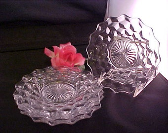 "Vintage Fostoria American Bread and Butter 6"" Plates w/Raised Ground Bottom, Elegant Set of 4 Clear Glassware Small Plates w/Cube Pattern"