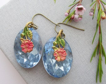 statement earrings dangle blue sapphire owlsnroses jewelry floral large