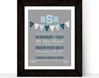Christening gift for boys from godparents, baptism gift for boys, blue gray nursery art, monogrammed gift for baby boy, birth stats wall art