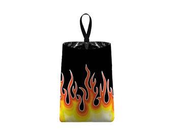 Car Trash Bag // Auto Trash Bag // Car Accessories // Car Litter Bag // Car Garbage Bag - Flames - Hot Rod - Fireman Fire