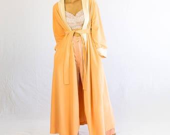 70s Peach House Coat // smoking jacket, vintage coat, robe, house jacket, vintage jacket, terry cloth