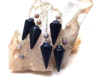 Blue Goldstone gemstone crystal with Agate dowsing pendulums