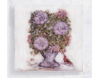 Flower Art - Botanical Print - Floral Art Block - 5x5 Canvas Print on Wood Frame - Lavender Stars - Nature Art Wall Art - Home Decor