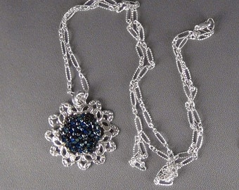 """Filigree Necklace  - Silver Plated, Swarovski Bermuda Blue, Silver Plated Figaro Chain - 36"""" + 1.75"""" Pendant - Hand Crafted Artisan Jewelry"""