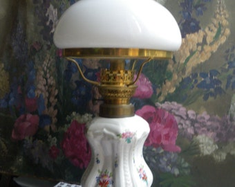 Romantic porcelain oil lamp handpainted flowers white milk glass petticoat shade made in France end 19h early 20th french country