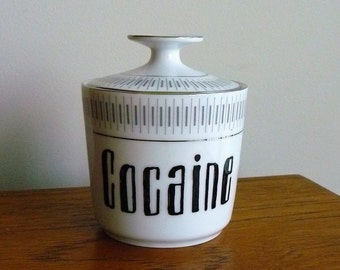 Cocaine hand painted vintage porcelain sugar bowl with lid recycled humor edgy tableware drug display storage