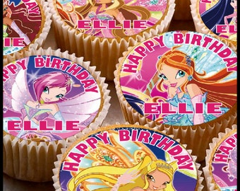 24 x Personalised Winx Cup Cake Toppers with Any Name Happy Birthday Design 4 Mix