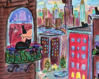 ORIGINAL PAINTING, 17 Good Luck Black Cats in New York helping their Families spend Powerball Money, by DM Laughlin