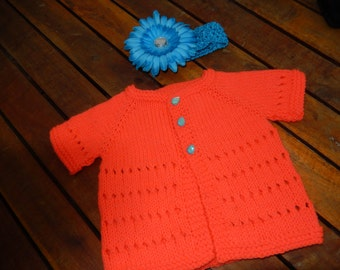 hand knitted short sleeve baby cardigan / baby sweater in melon shade with headband 0-3 month