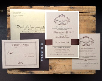 "Rustic Gold Wedding Invitations, Chocolate Brown and Gold, Rustic Gold Luxury Invites - ""Equestrian Love"" - Deposit"