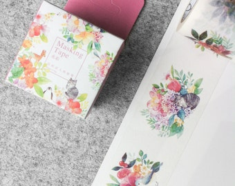 SHOP CLOSING SALE~~ Wide, cute washi tape - flowers & animals | Cute Stationery