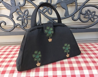 Black Potted Palm Tree Structured Handbag