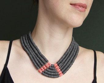 Ukrainian black&red jewelry - Ukrainian jewelry - Coral colar necklace - Ethnic beaded necklace