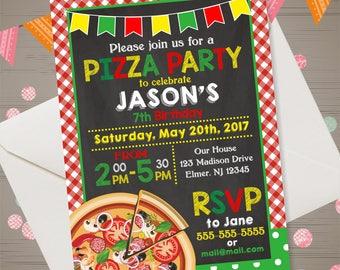 Pizza Party Invite Etsy