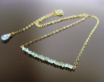 Genuine Blue Raw Rough Diamond 14k Gold Filled Solid 14K Gold or Sterling Silver Necklace
