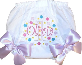 Personalized Baby Girl Diaper Cover, Bloomers Crazy Color Dots Design