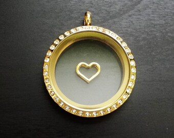 Gold Heart Floating Charm for Floating Lockets-Gift Idea
