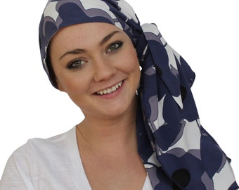 Jessica Pre-Tied Head Scarf, Women's Cancer Headwear, Chemo Scarf, Alopecia Hat, Head Wrap, Head Cover for Hair Loss - Large Purple Flowers